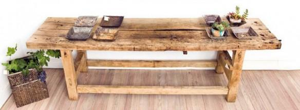 Decorate with benches and natural wood logs2