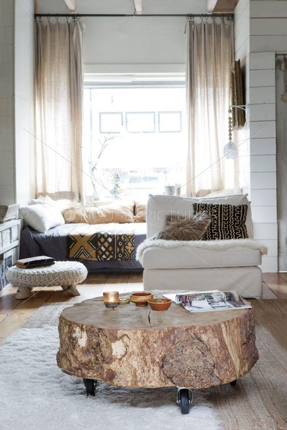Decorate with benches and natural wood logs3