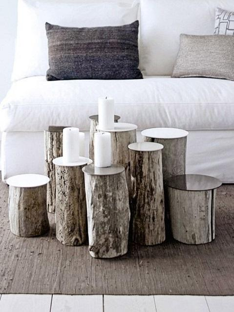 Decorate with benches and natural wood logs8