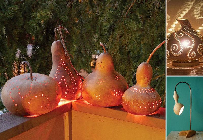 Lighting lanterns from dried pumpkins