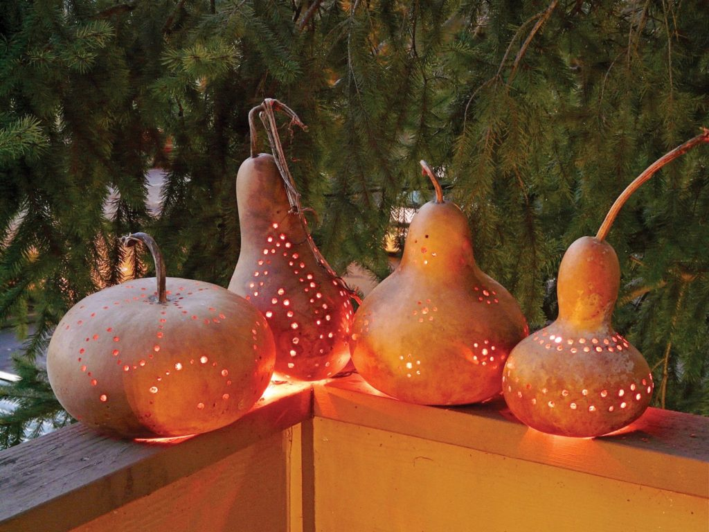 Lighting lanterns from dried pumpkins4