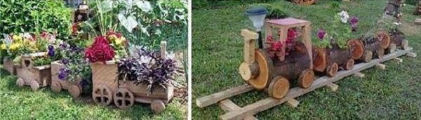 garden decoration with stumps and crates10