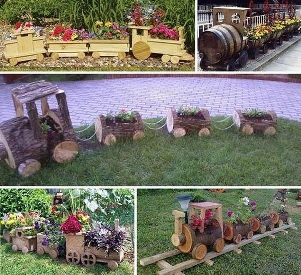 garden decoration with stumps and crates7