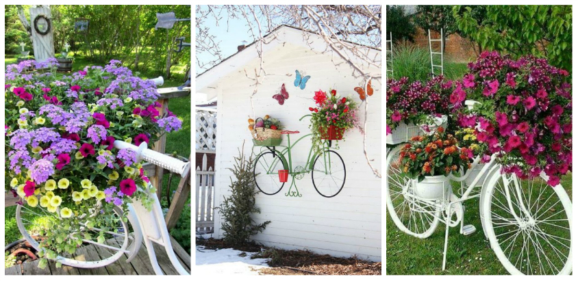 garden decorations from old bicycles
