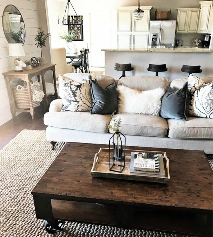 Rustic lounge tips and 80 photos to create a cozy nest for Deco noir blanc gris