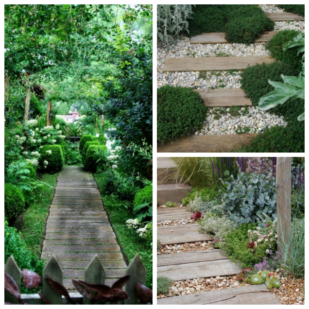 garden paths with wood