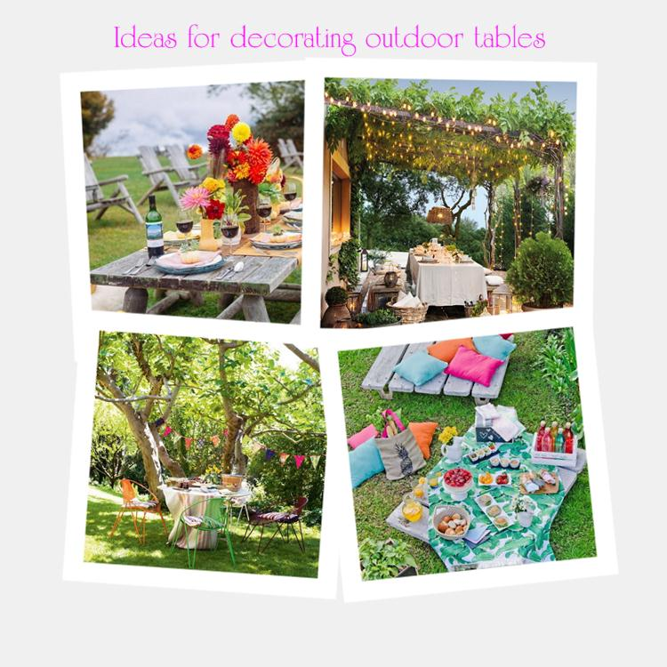 Ideas for decorating outdoor tables
