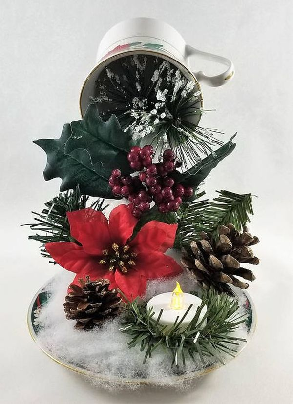 Christmas decorations with ornaments spilled from cups (4)