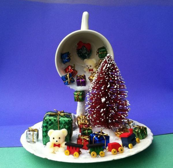 Christmas decorations with ornaments spilled from cups (8)