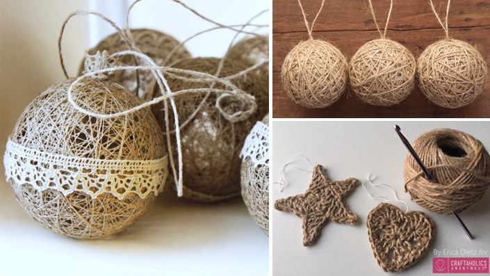 Christmas ornaments made of string (3)