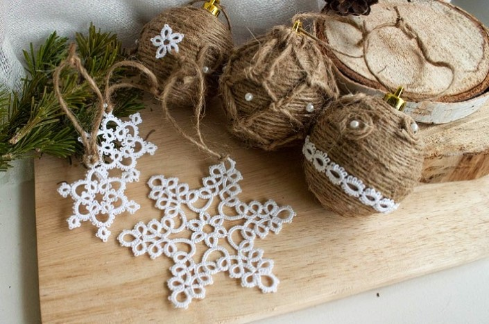 Christmas ornaments made of string (5)