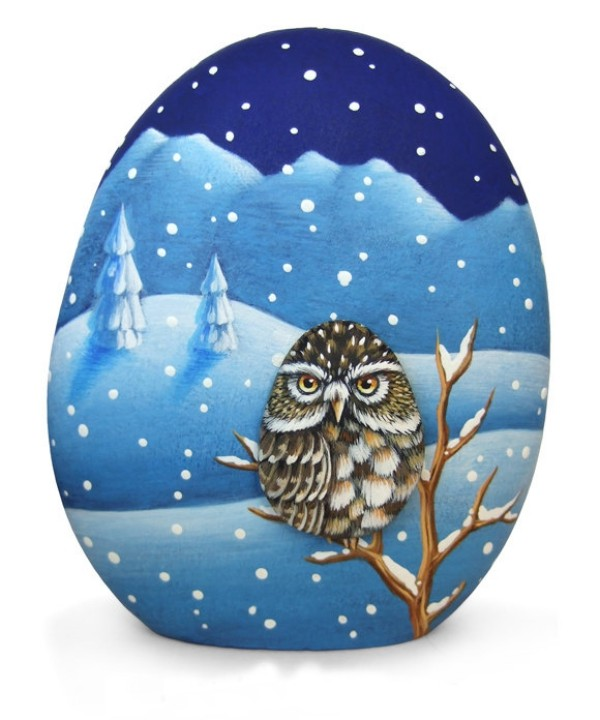 Christmas painting on stones and pebbles (25)
