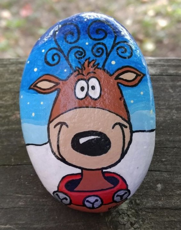 Christmas painting on stones and pebbles (36)