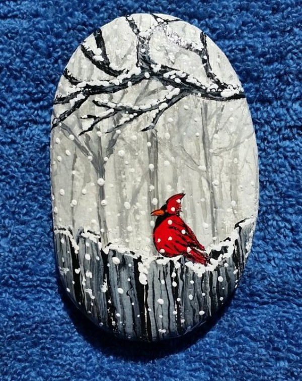 Christmas painting on stones and pebbles (51)