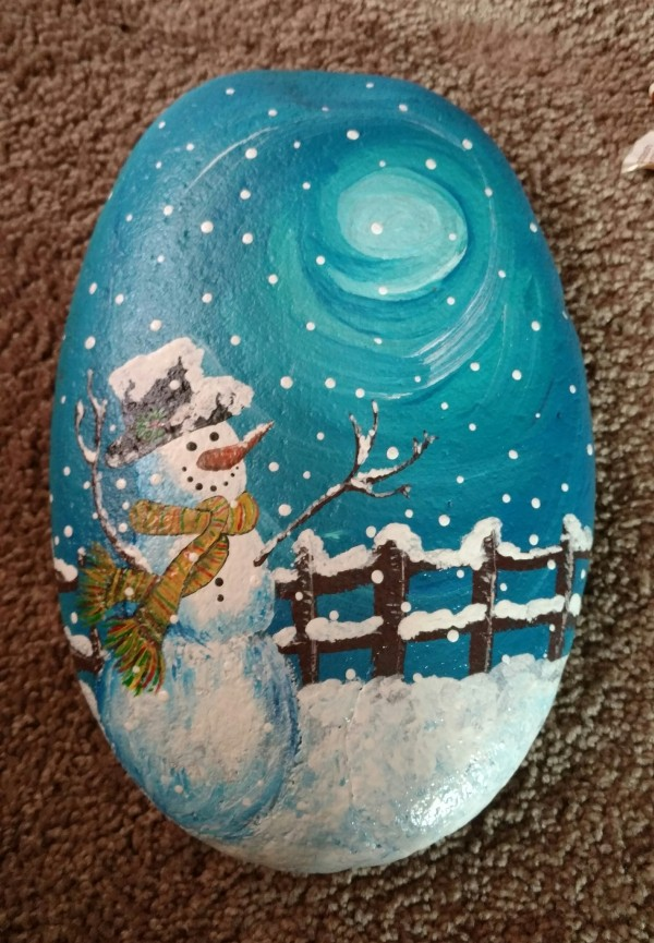 Christmas painting on stones and pebbles (56)