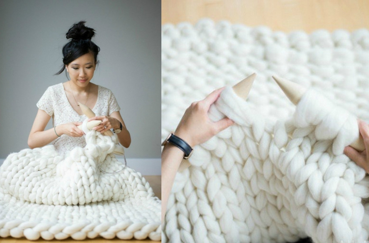 knitted decoration with thick yarns (14)