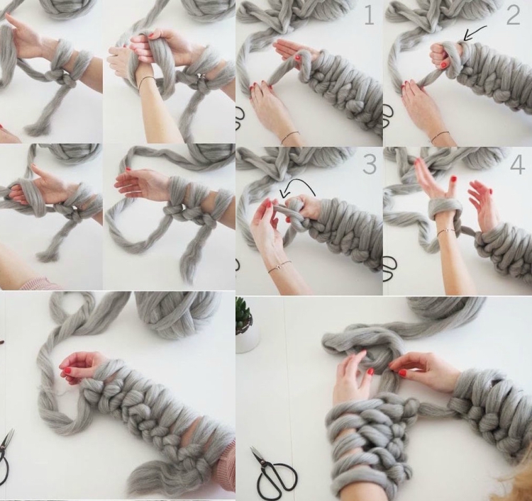 knitted decoration with thick yarns (18)