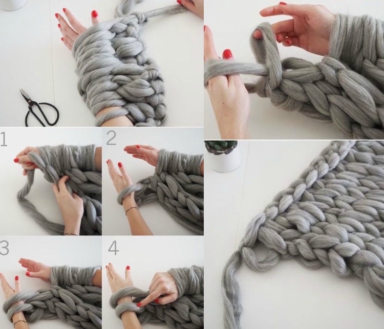 knitted decoration with thick yarns (19)