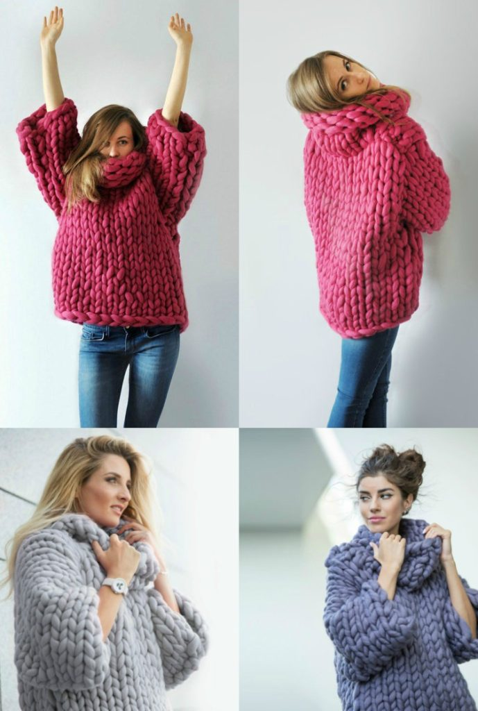 knitted decoration with thick yarns (25)