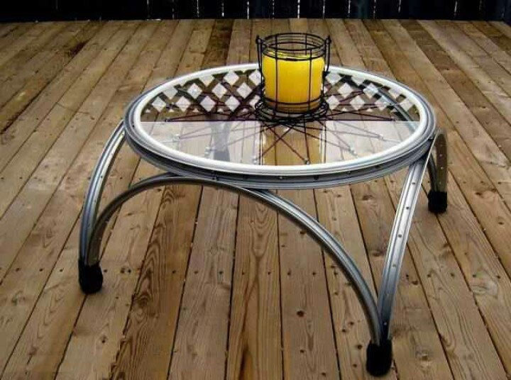 DIY by recycling bicycle wheels2