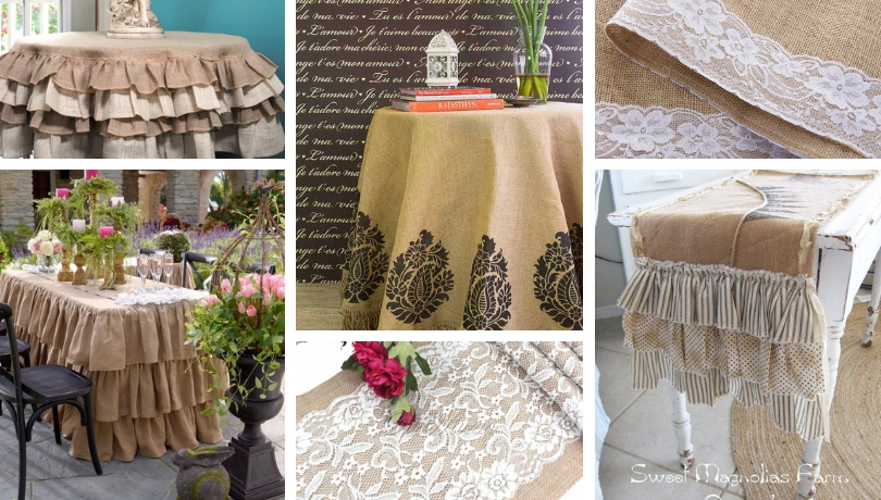 Use burlap in a new role: pretty and practical DIY tablecloths